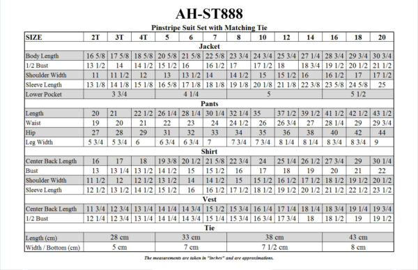 AH-ST888 Size Chart Image - Little Things Mean a Lot